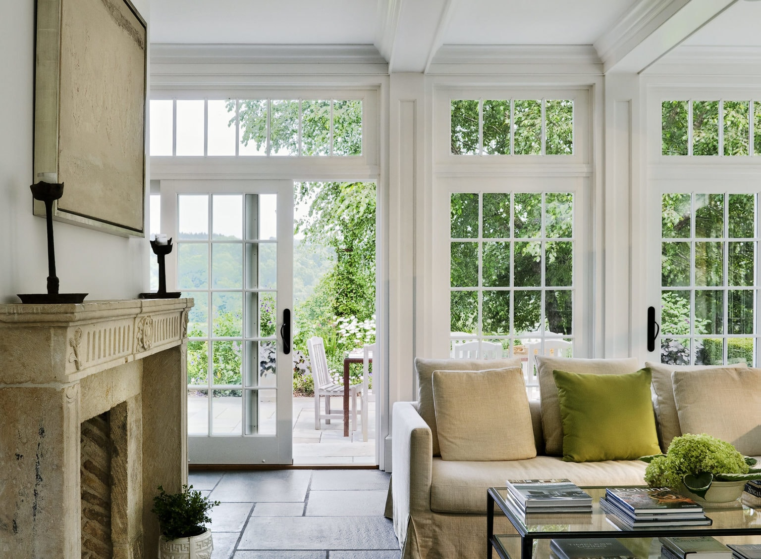 Sun Room with Fireplace Detail